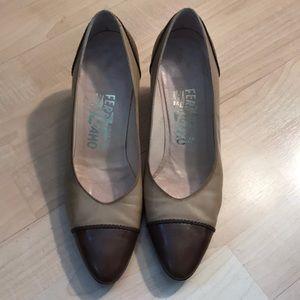 Salvatore Ferragamo brown tip shoes size 7.5